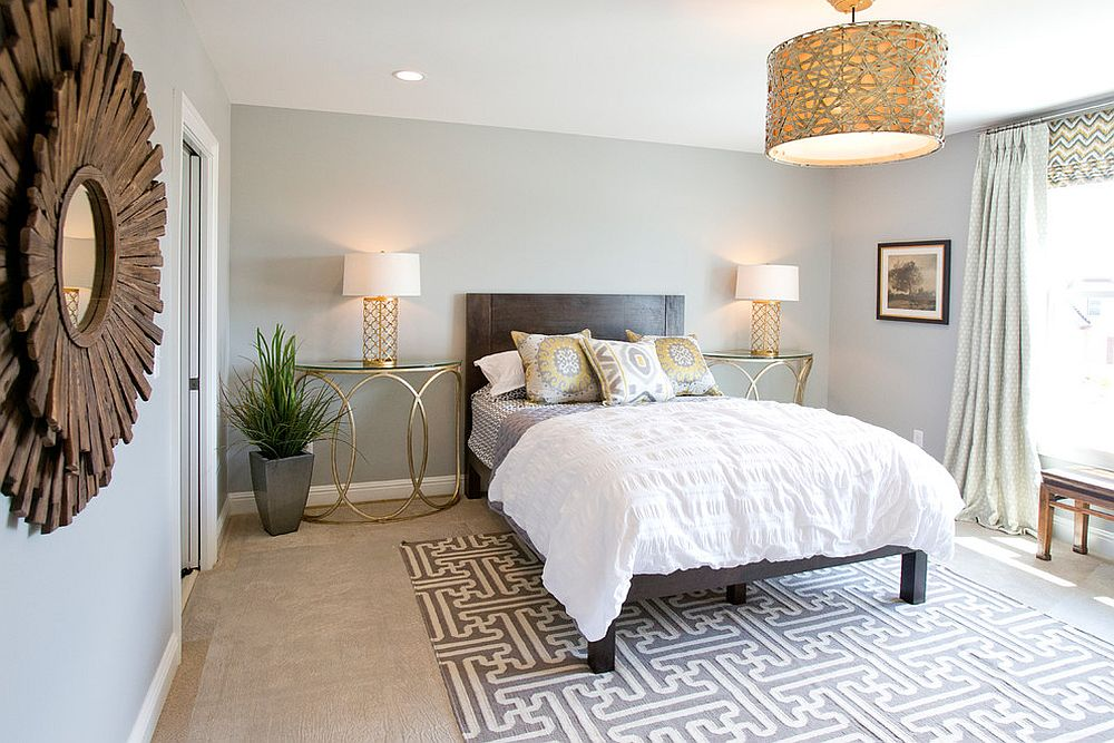 Contemporary bedroom with stylish gold nightstands and table lamps [Design: Lady of the HOUSE interior design]