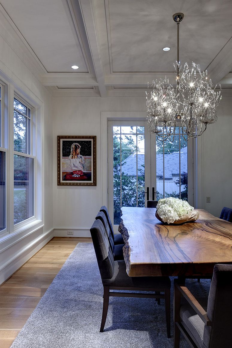 Contemporary dining room with live edge dining table [From: Domiteaux + Baggett Architects / Chuck Smith Photography]