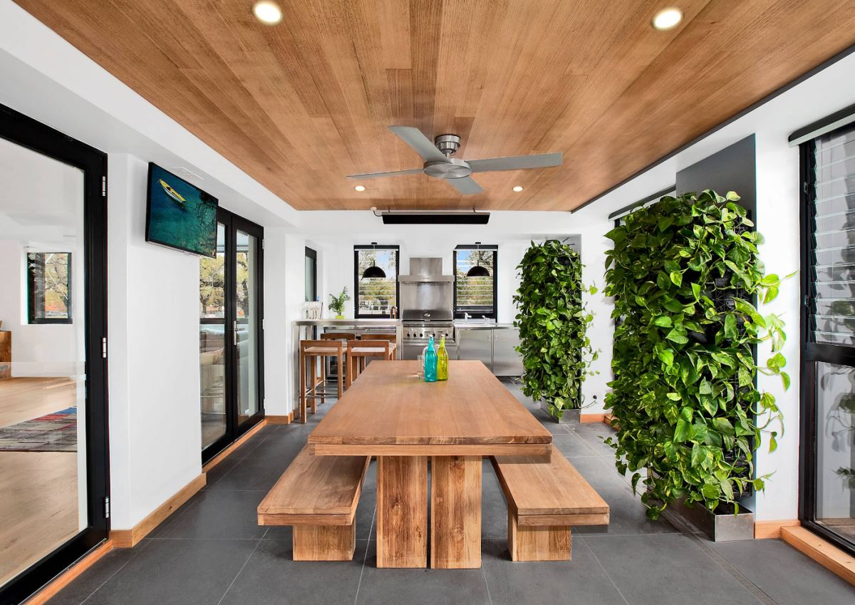 Vertical Garden Design With Gazebo Installation View In Gallery Contemporary Dining Room With Vertical Gardens