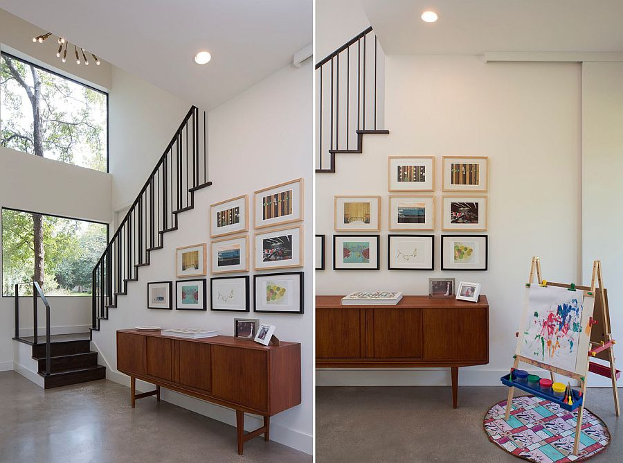 Contemporary entry with a modest gallery wall