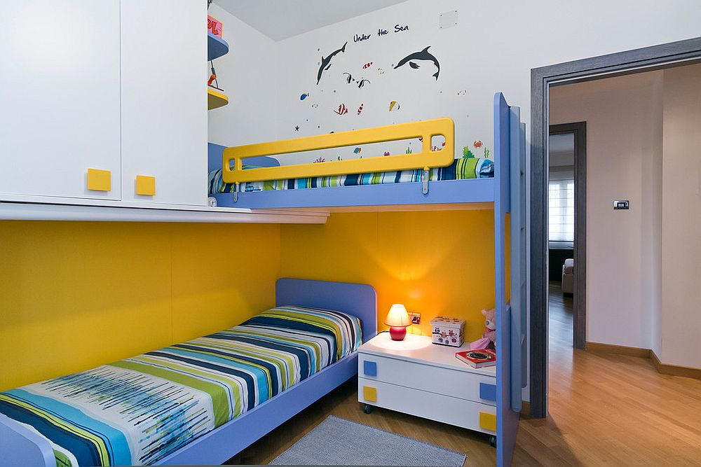Trendy and timeless 20 kids rooms in yellow and blue for Ample storage