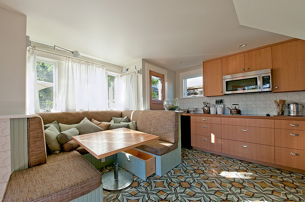 Contemporary kitchen with a cozy custom banquette