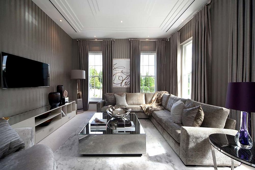 Contemporary living room with striped walls and mirrored coffee table [Design: The L&C Company]