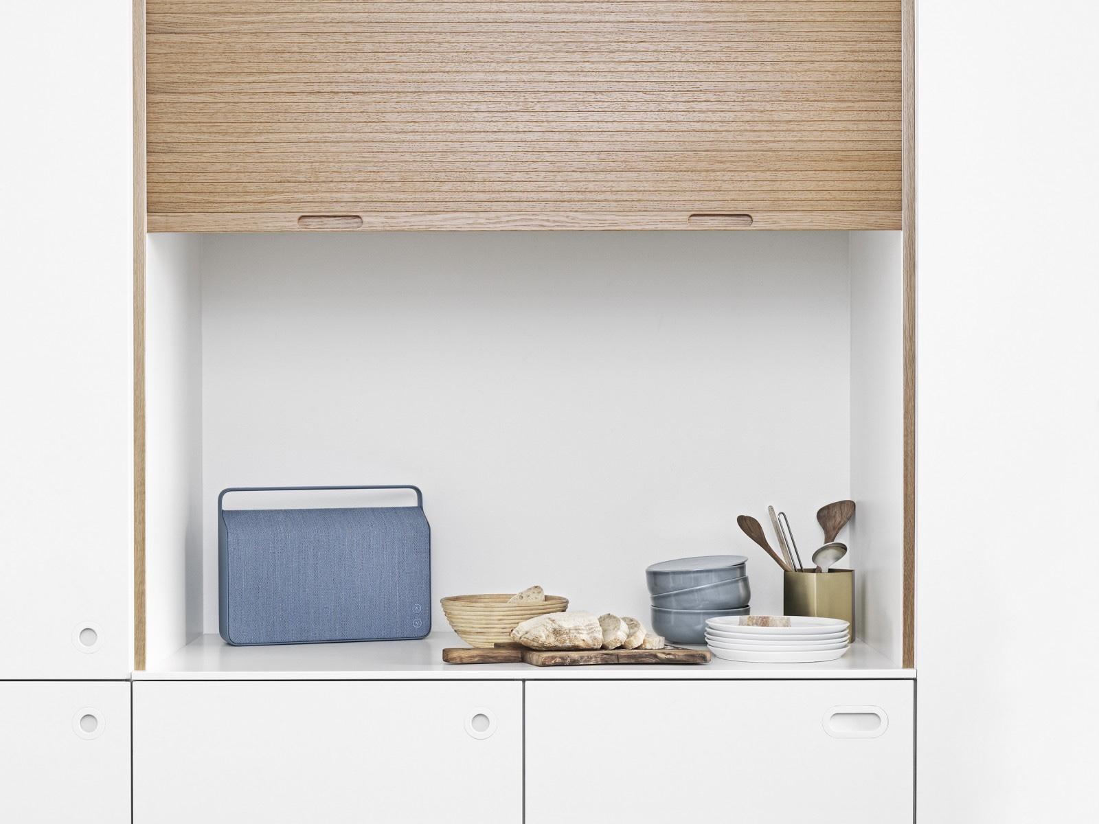 Kvadratproduced aspecially woven textile cover for the 'Copenhagen' loudspeaker from Danish companyVifa. Image viaMidcentury Møbler.