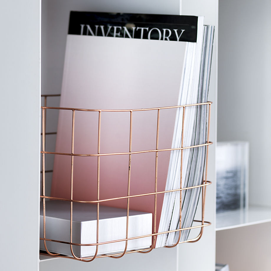 Copper wire storage basket from CB2