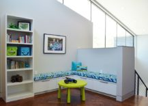 Corner seating bench is perfect for a comfy kids' room