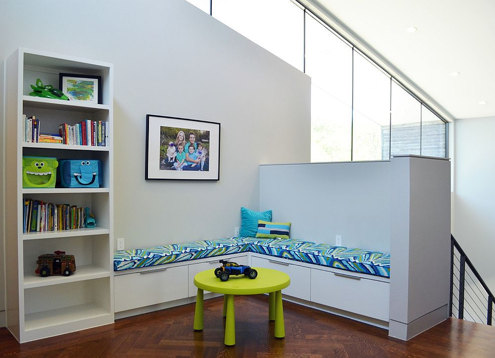 Corner bench is perfect for a comfy kids' room [From: New Leaf Construction / Sarah Greenman]
