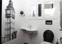 Corner sink frees up space in the rest of the powder room
