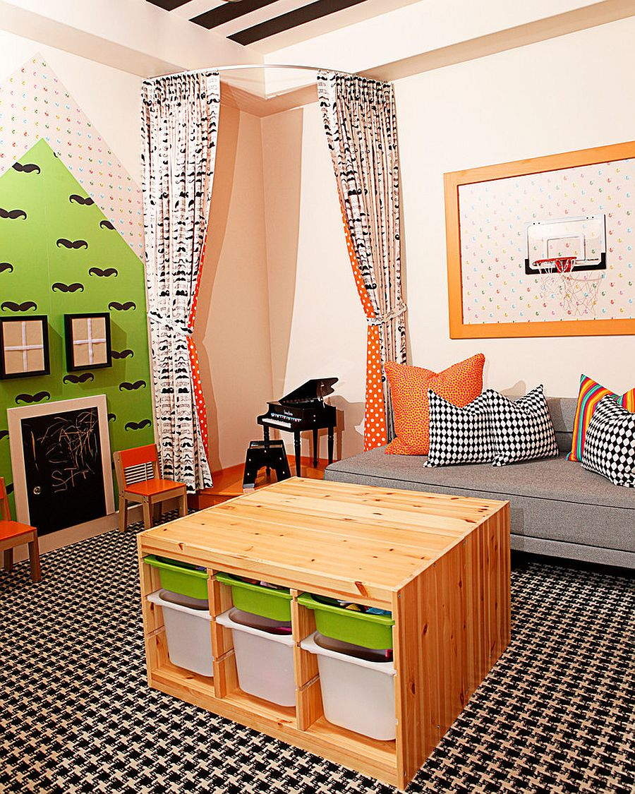 Corner stage in the kids' playroom is a fun addition [Design: Mary Meinz Design]