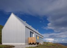 Corrugated metal sheeting shapes the exterior of Tinhouse on the Isle of Skye 217x155 Serene Residence on Isle of Skye Blends Rural and Modern Aesthetics