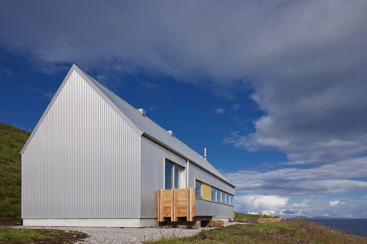 Corrugated metal sheeting shapes the exterior of Tinhouse on the Isle of Skye