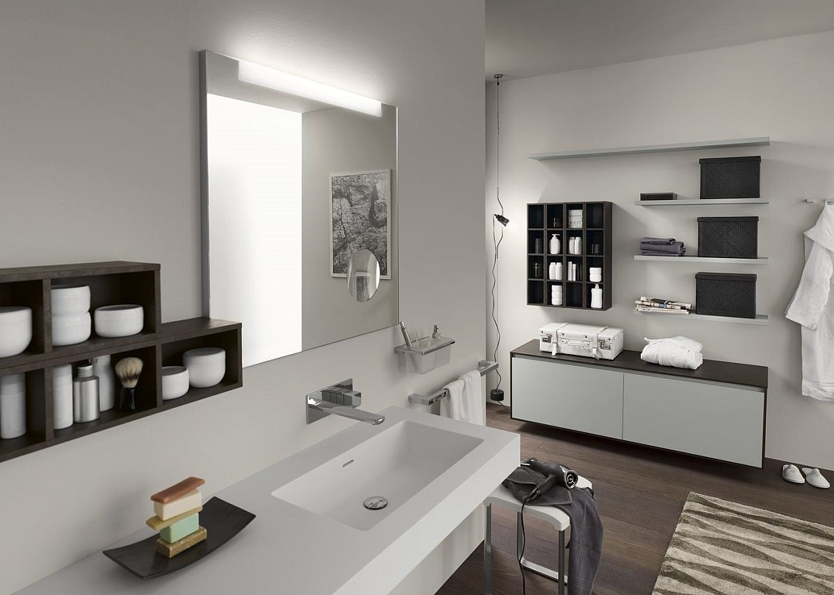 Craft a living bathroom with modern vanity and cabinets from Inda