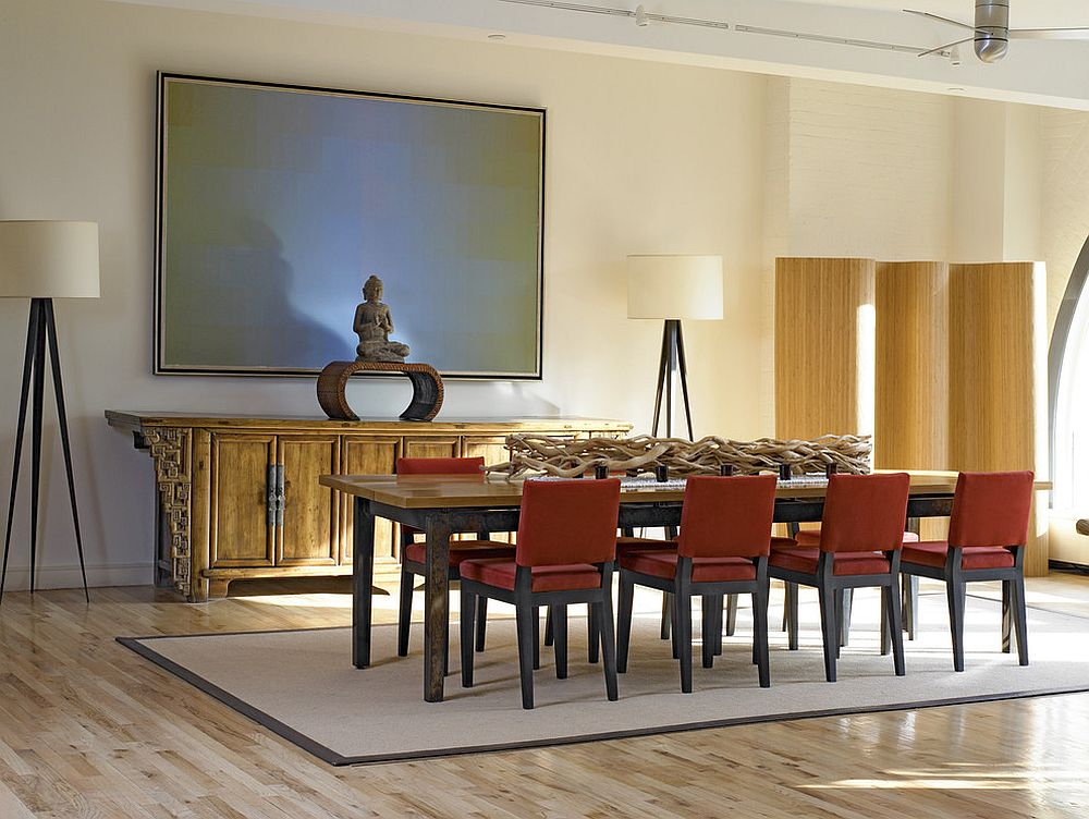 Custom Zen plank dining table and buffet in the Asian style dining space [Design: Alan Kosa Interiors]