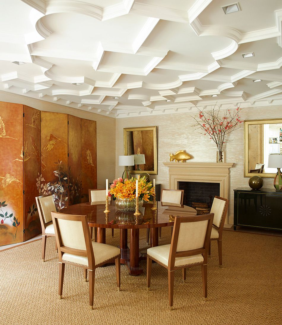 Custom ceiling and Asian screen give the dining room its style