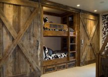 Custom crafted sliding barn doors for the rustic kids' room