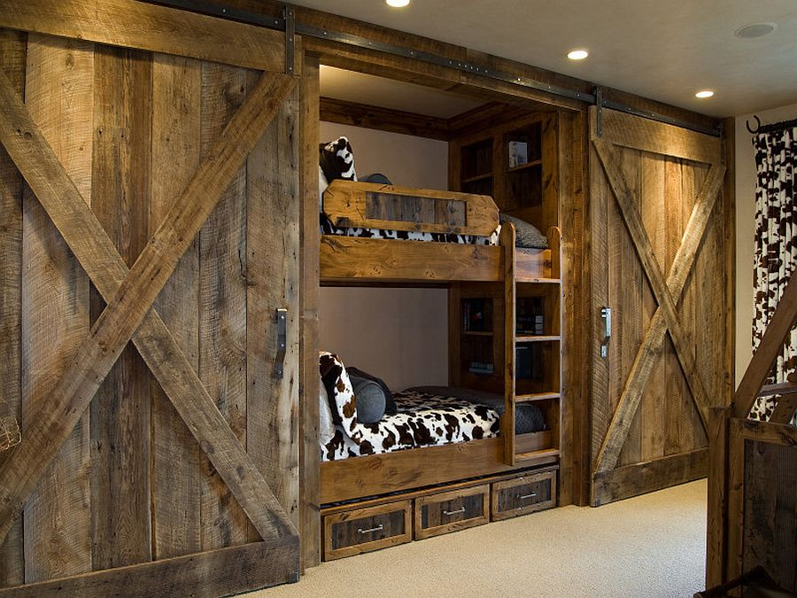 Custom crafted sliding barn doors for the rustic kids' room [Design: Cameo Homes]