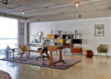 Custom wooden dining table for the light filled home office