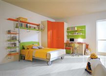 Cuxtom wardrobe in orange perfectly fits into the corner 217x155 7 Practical Ways to Make the Most of Corners in Kids' Room