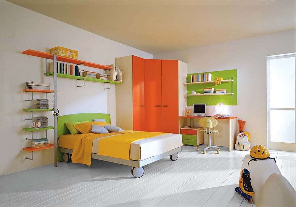 Custom wardrobe in orange perfectly fits into the corner [From: CasaModern]