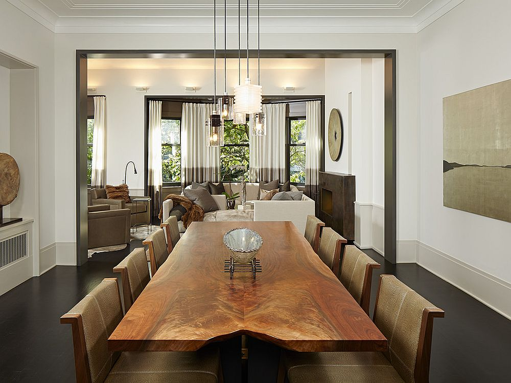 Dashing formal dining room with contemporary style and live edge table [Design: Burns and Beyerl Architects]