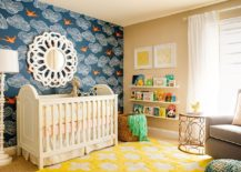 Daydream wallpaper in blue and rug in smart yellow for the transitional nursery