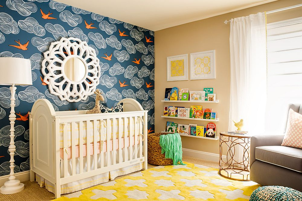 Daydream wallpaper in blue and rug in smart yellow for the transitional nursery [Design: J & J Design Group]