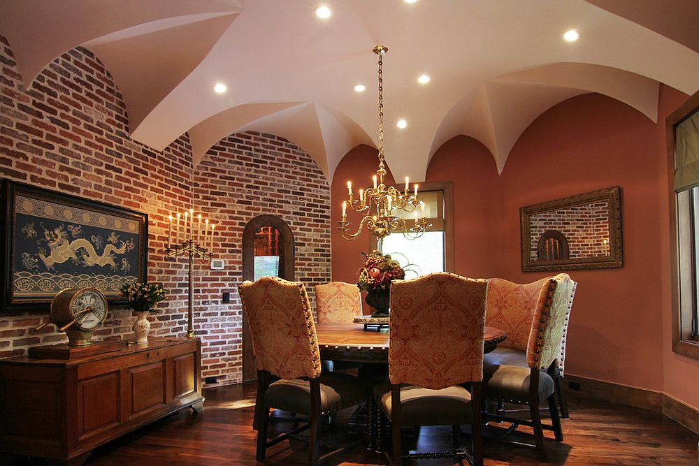 Dining room finds a balance between Moroccan and Tuscan styles [From: Brickmoon Design]