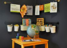 Easy way to turn the corner into a homework station in the kids' room