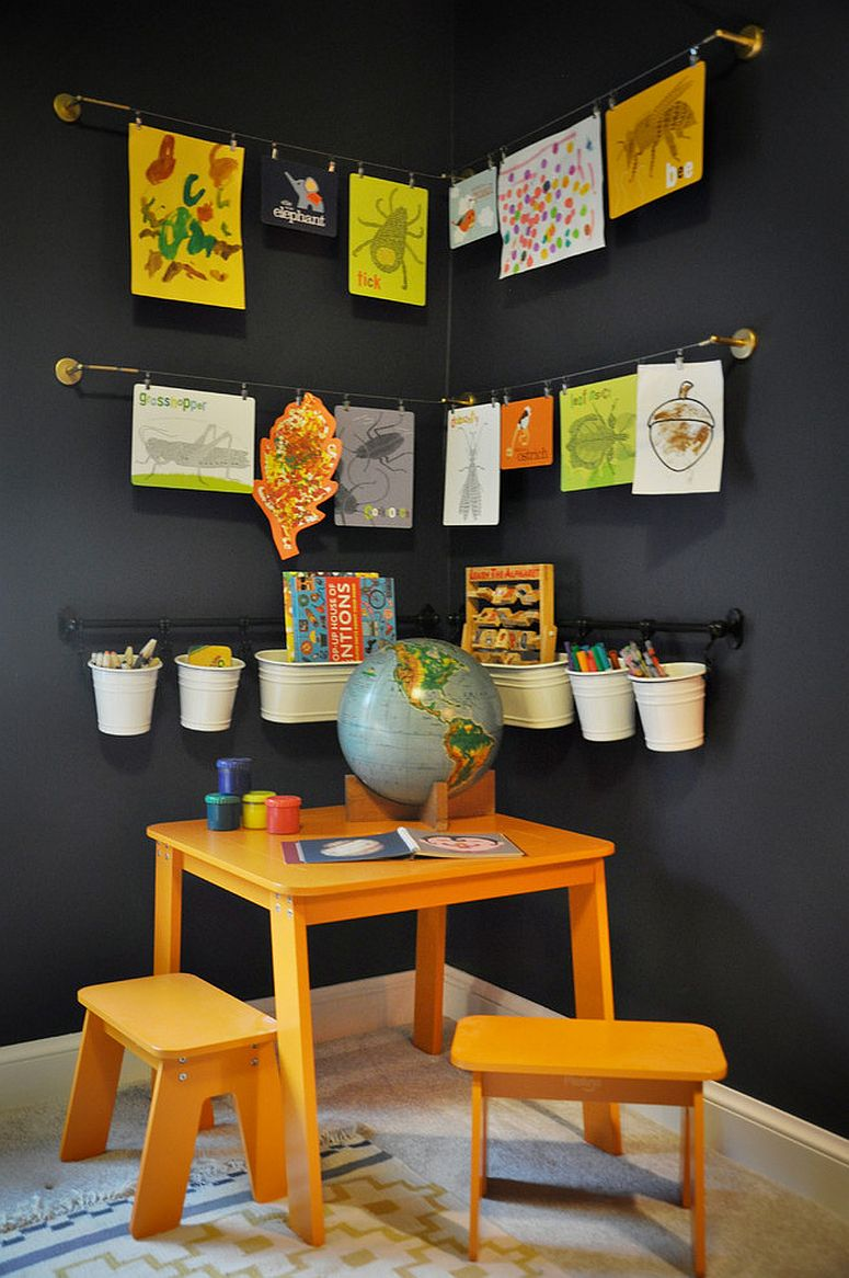 Easy way to turn the corner into a homework station in the kids' room [Design: Etch Design Lab]
