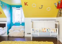 Eclectic nursery in blue and yellow