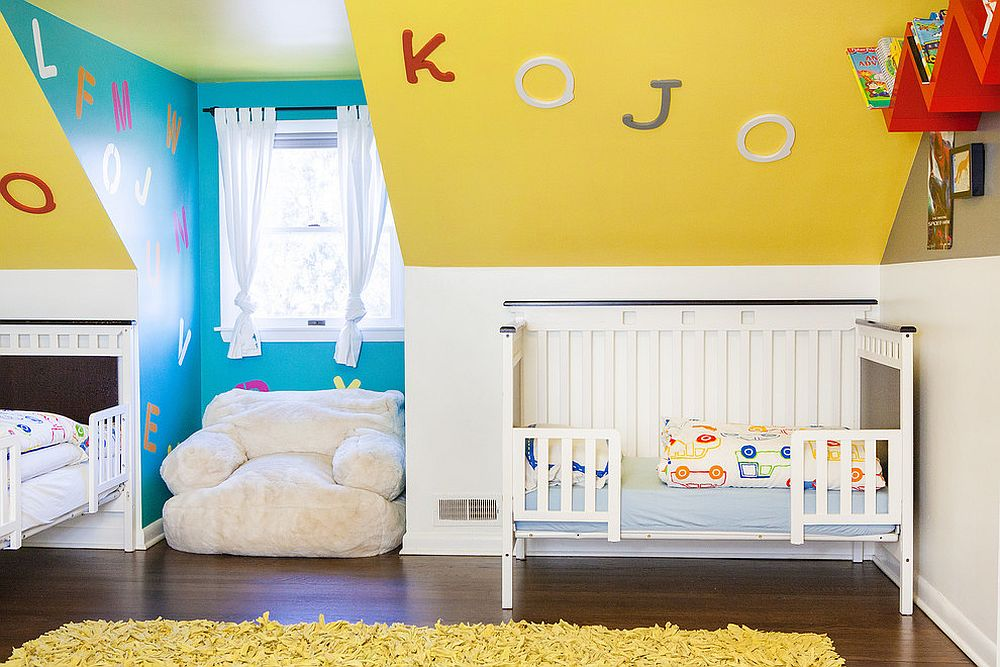 Eclectic nursery in blue and yellow [From: reStyled by Valerie / Julie Ranee Photography]