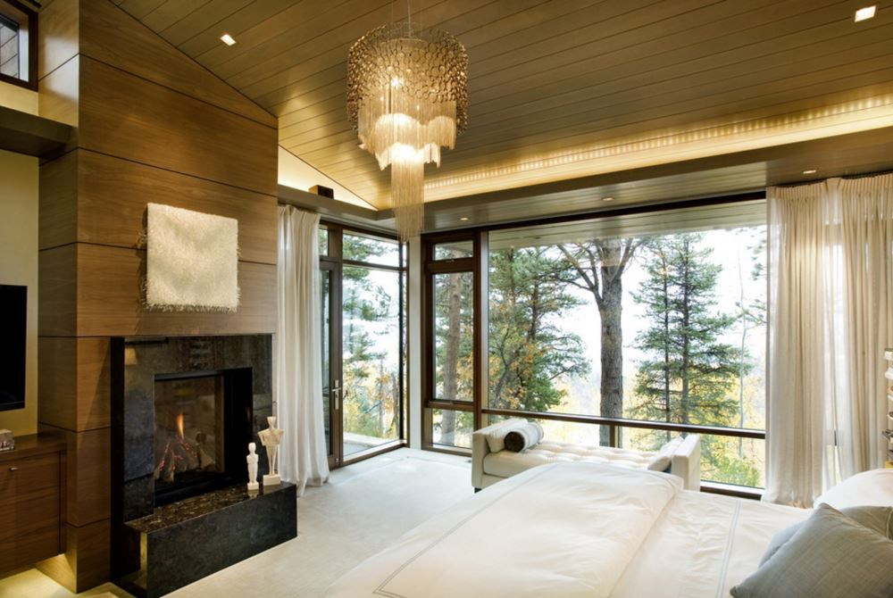 Elegant bedroom with a window bench