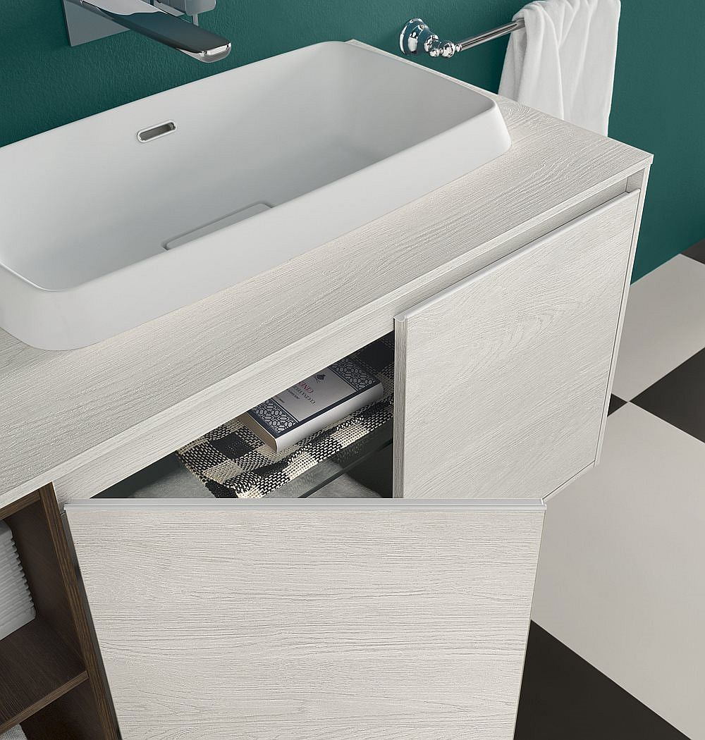 Elegant vanity unit offers ample storage space