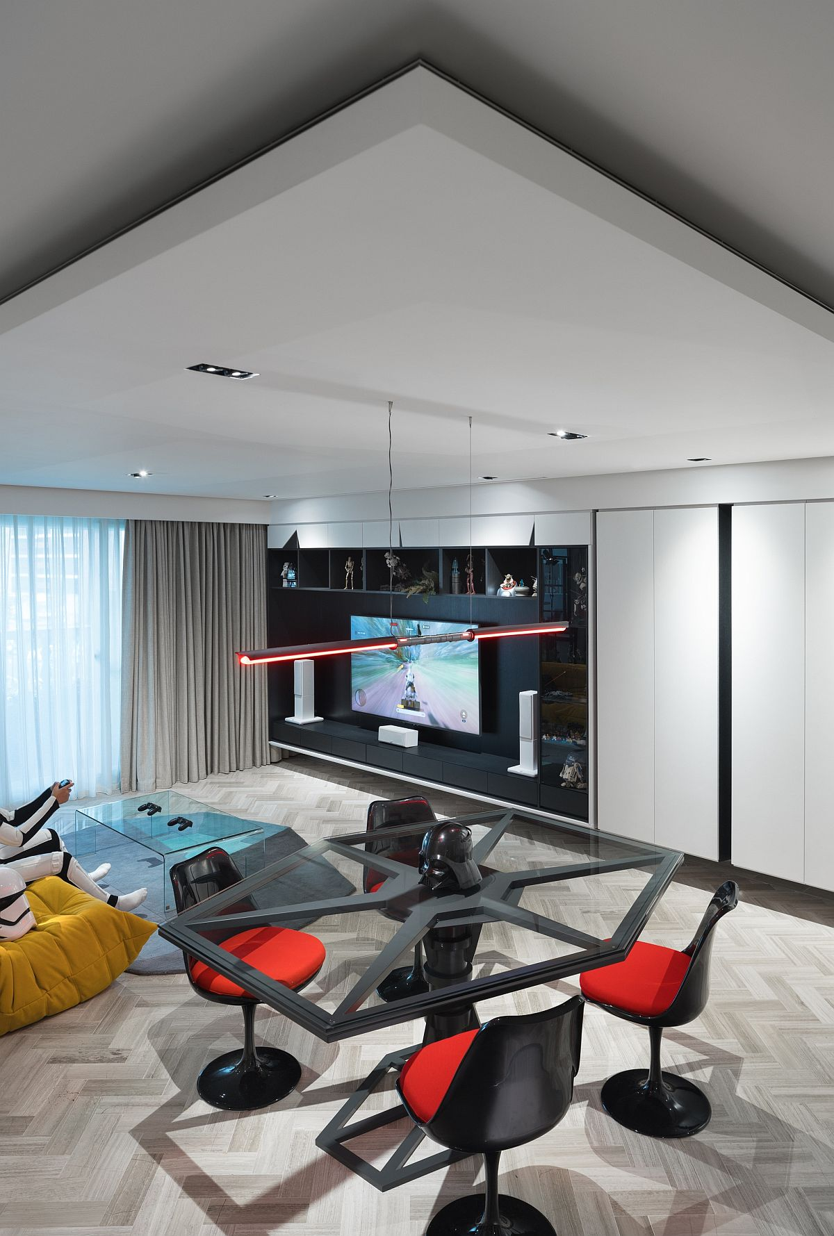 Entertainment zone and living room of the Star Wars home