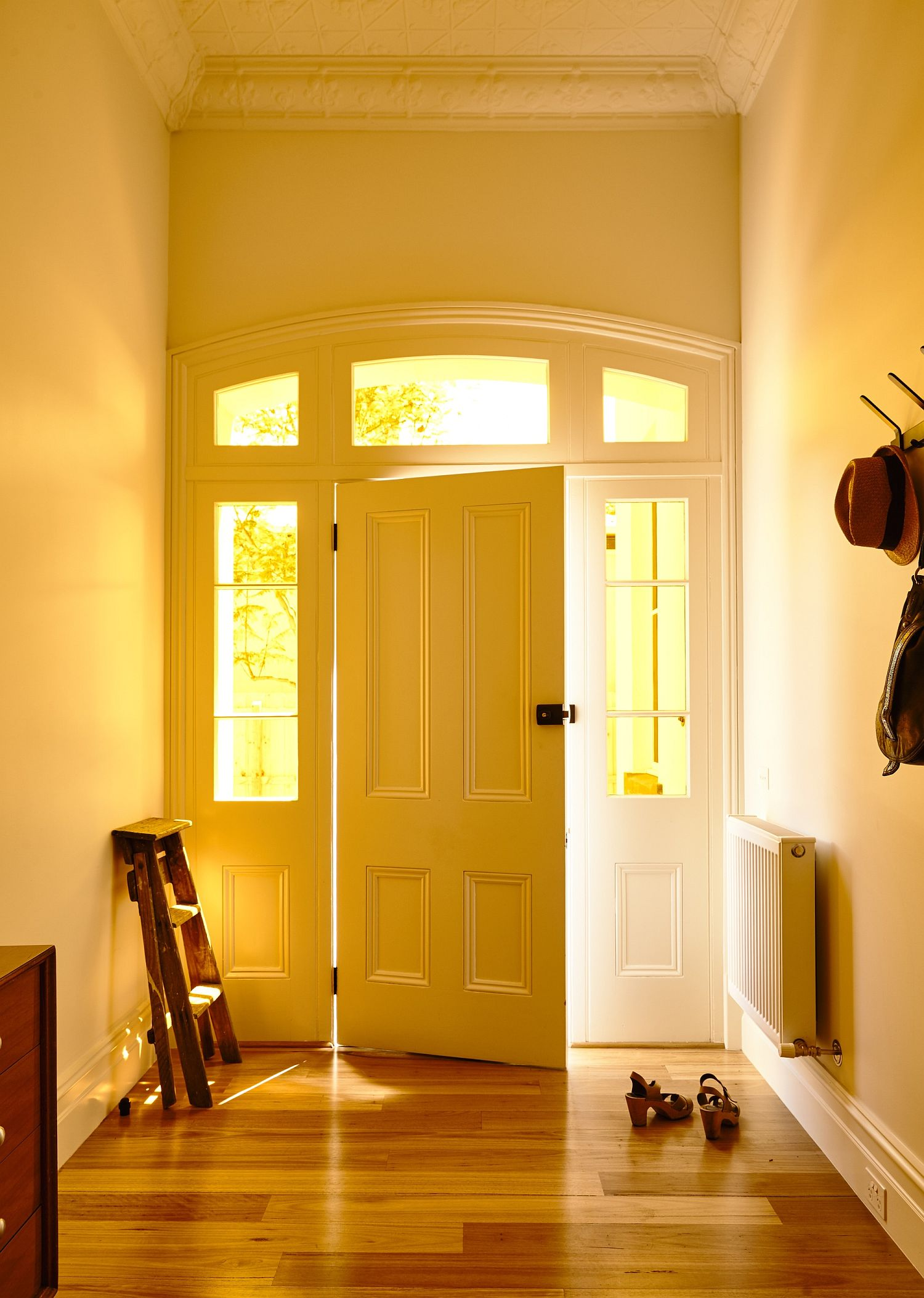 Entrance to the classic home at teh front with a modern Victorian vibe