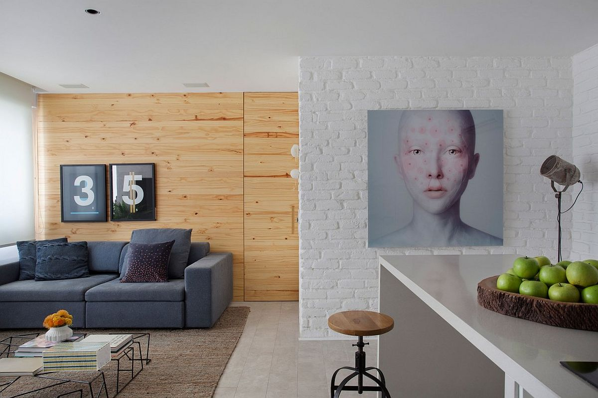 View in gallery excellent use of exposed brick and wooden walls to add textural beauty to the interior
