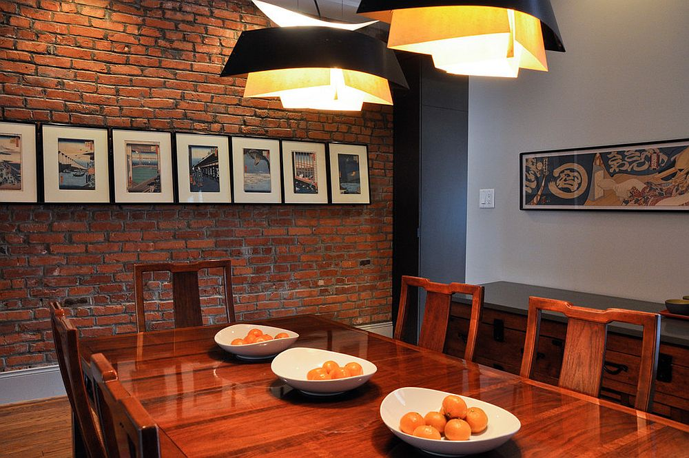 Exposed brick wall for the Asian style dining room with industrial overtones [From: C.M. Glover Photography]