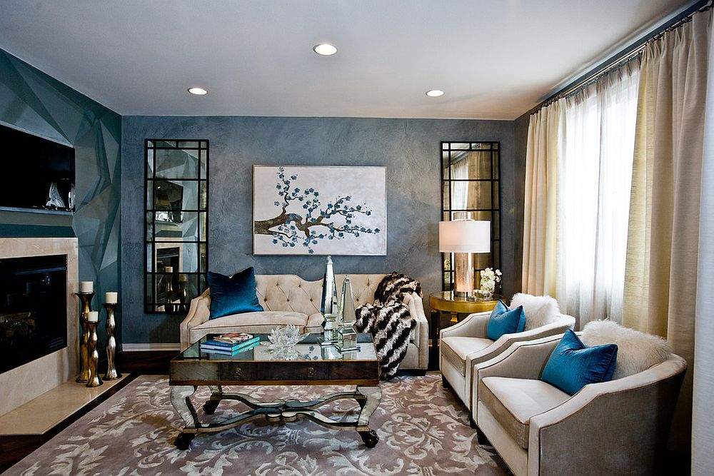 Exquisite living room in blue with a hint of gold [Design: Charles Neal Interiors]
