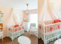 Exquisite peach and mint nursery idea