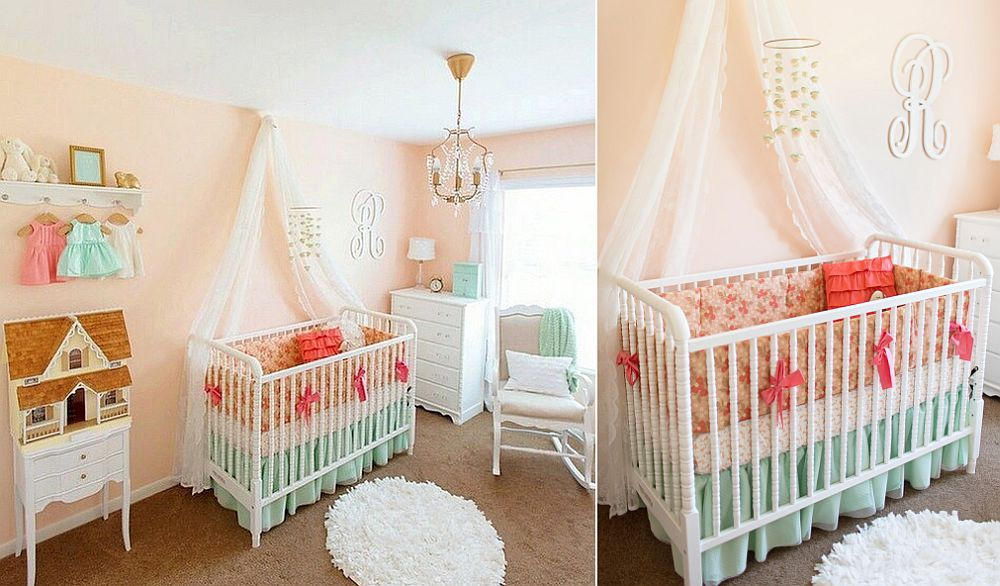 Exquisite peach and mint nursery idea [From: Lottie Da Baby]