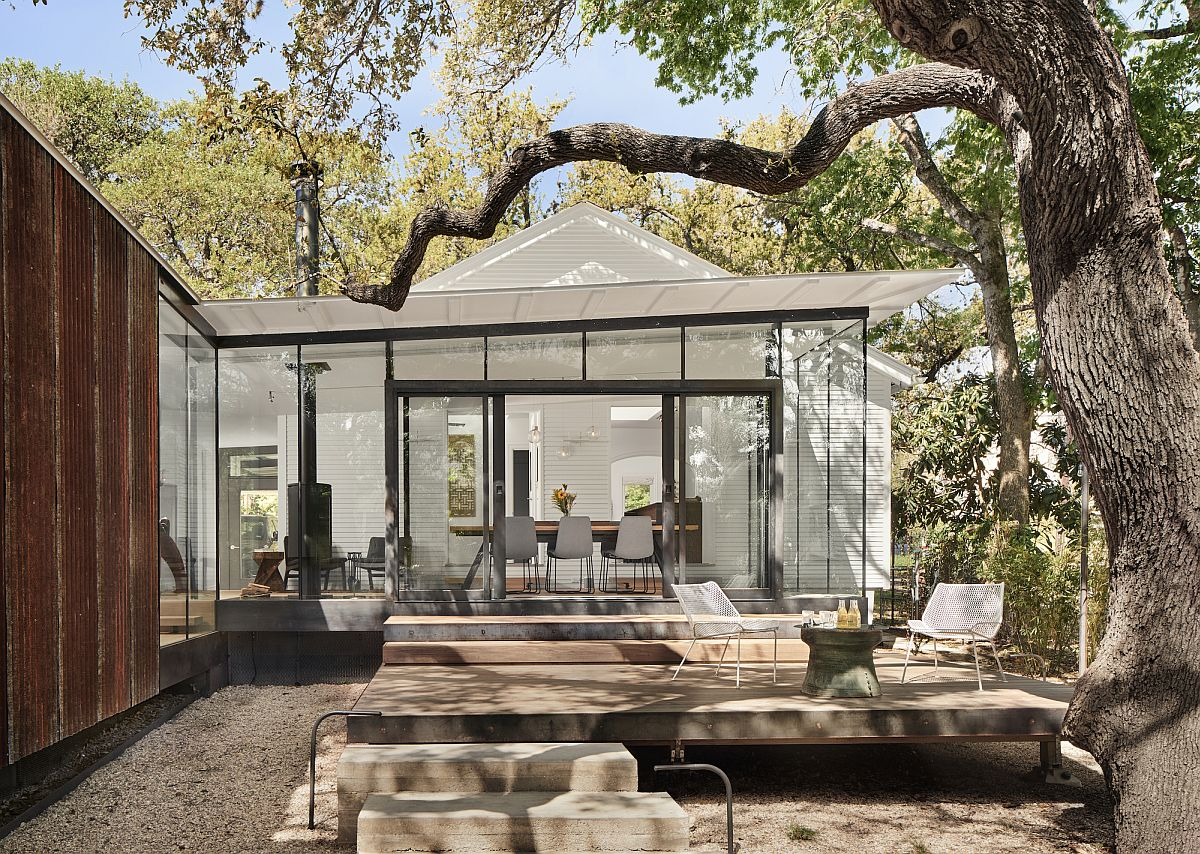 Exterior terraces become a part of the living space inside