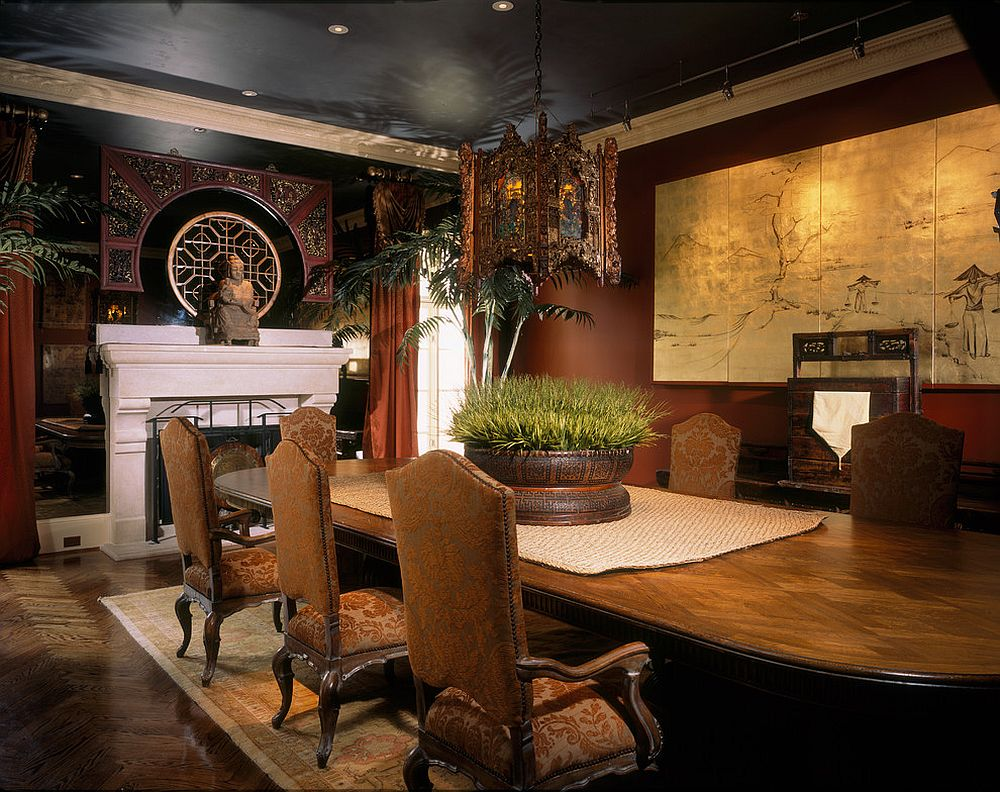 Fabulous Asian style dining room delves into the extravagant! [Design: Jim Weinberg Lifestyles]