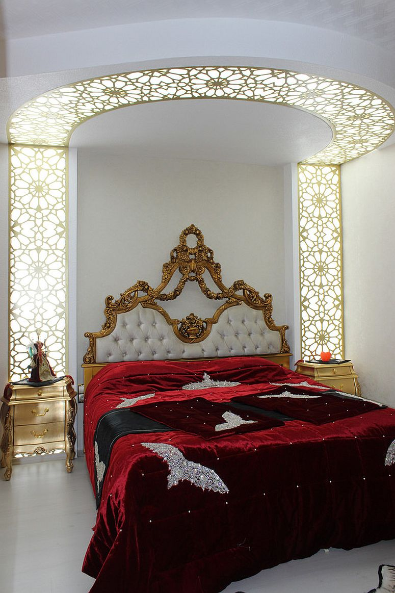 Fabulous traditional bedroom with gold nightstands and ornate design [From: Betul Timsagan]