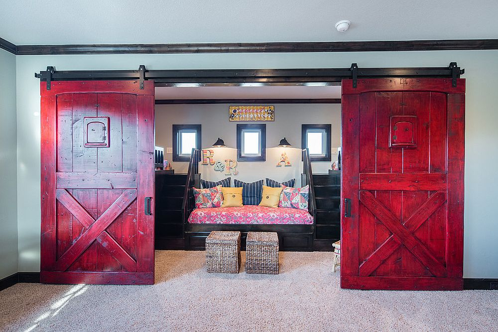 Fabulous use of color to enliven the barn doors [Design: Innovation Luxury Homes]