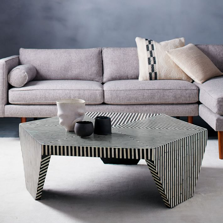 Faceted black and white coffee table from West Elm