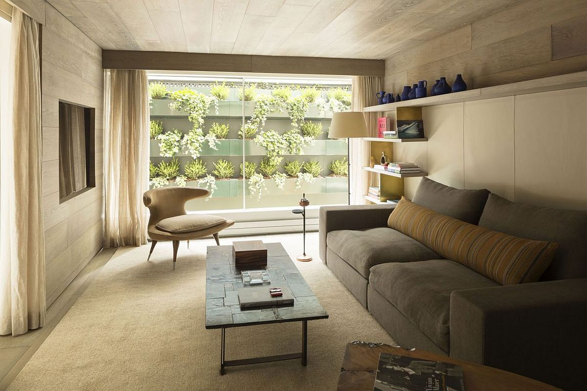 Family room connected with the living wall and courtyard outside
