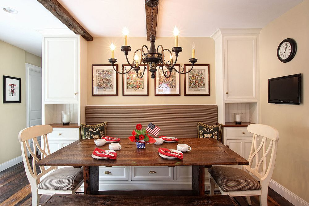 Farmhouse and traditional styles rolled into one inside this lovely kitchen