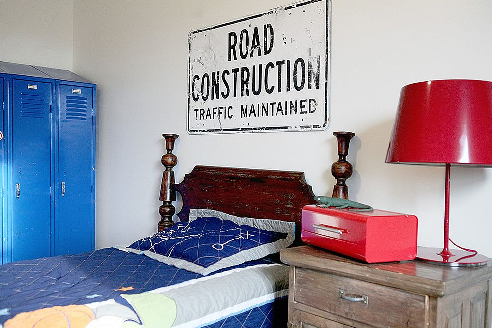 Farmhouse style kids' room with a road sign above the bed [From: Julie Ranee Photography]
