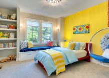 Fiesta Yellow fashions a striking accent wall in the cheerful kids' room