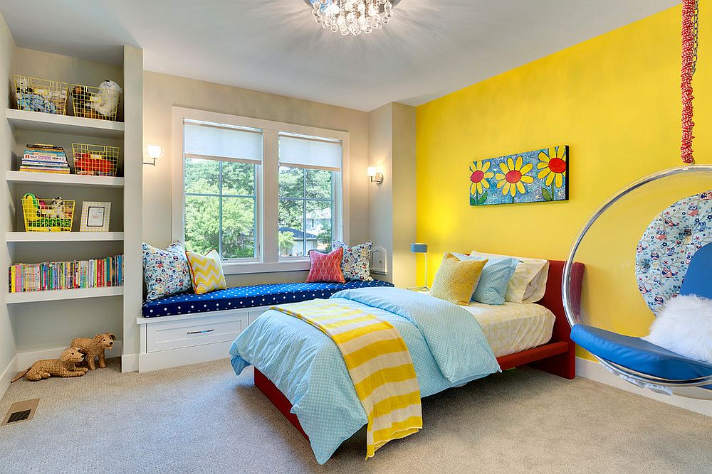 Fiesta Yellow fashions a striking accent wall in the cheerful kids' room [Design: REFINED LLC]